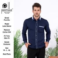 Kemeja Pria Fashion Lengan Panjang Biru Navy Postillo
