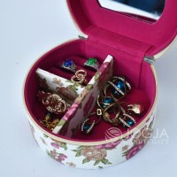 Pink Flowers Kotak Emas & Tempat Perhiasan + Aksesoris Jewelry Box