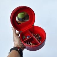 Red Croco Kotak Emas & Tempat Perhiasan + Aksesoris Jewelry Box