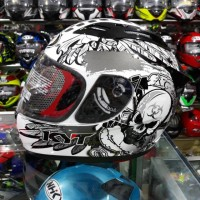 Helm Full Face KYT RC7 Motif Seri 13 White Black Gun Metal