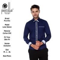 Kemeja Pria Fashion Biru Navy Lengan Panjang Postillo