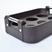 BROWN - Tray Aqua Gelas / Nampan Tempat Air Mineral Kulit Isi 6