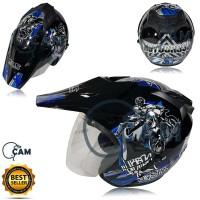 Helm Motor SNI KNC trail moto cross black gloss biru bukan JPX KYT ink