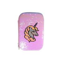 Smiggle Hard Top Pencil Case Unicorn Sequin / Kotak Pensil - Merah Muda