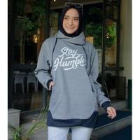 Jaket Jacket Wanita Cewek Kekinian Terbaru Fleece Longrow Abu Navy RM