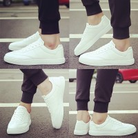 Sepatu Sneakers Casual Pria Warna Putih Gaya Korea untuk Musim Semi