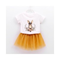 2018 Summer NEW Children skirt Clothing Orange Cartoon T-shirt Yarn Dr