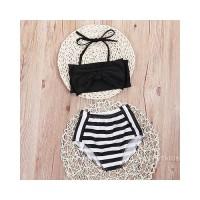 SK-Baby Kids Girls Fashion Striped Cute Beach Swimwear Bikini Bathing