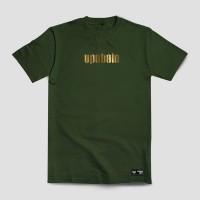 Baju Kaos Tshirt Hijau Army Gold Merek Upstain Wear Original