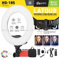 LATOUR Ring Light LED 18s HD-18S Lampu 2 Color Make Up Vlog Ringlight