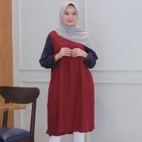 Baju Atasan Wanita Terbaru Versace Tunic Loreng Baju Tunik Hijab Murah