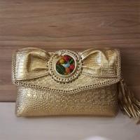 Clutch Wanita Floi Gold Embose Chroco