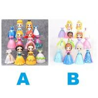 Mainan Anak Action Figure Pajangan Disney Princess Princes Frozen Elsa