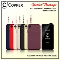 Oppo A5 2020 - Paket Bundling Tempered Glass Privacy Dan Softcase