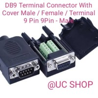 1PCS  D-SUB DB9 Male 9Pin Black Cover Screw Type Breakout Terminals Connector