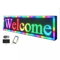 Running text indoor full colour wifi/usb 20x100cm RGB RMD bergaransi