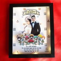 DWS Frame One Piece Kado Souvenir Unik Wedding Valentine UPGRADE LAMPU