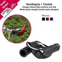 Handle Grip Tanduk Sepeda Double Lock Ergonomic Rubber Alloy