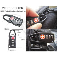 GEMBOK SWISS KOPER RANSEL TAS PASSWORD KODE ANGKA ZIPPER LOCK