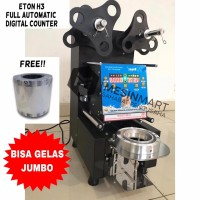 Cup Sealer Mesin Press Gelas Full Auto ET-H3 Digital Counter + Roll