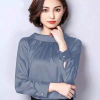 Blouse leher tinggi Wanita Gaya Korea Model Terbaru -