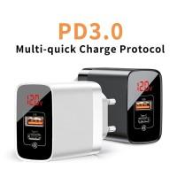 Baseus Adaptor Charger 18W USB Type C PD QC3.0 Digital Mirror Lake