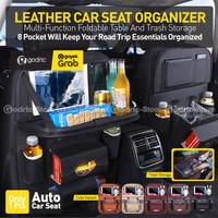 Leather Car Organizer Multifungsi (Meja + Tong Sampah) Tas Kulit Mobil