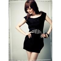 Black Mini Dress WIth Belt 128410