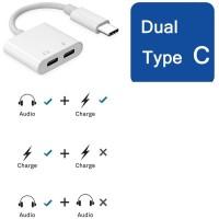 Adaptor USB Type C To Dual Type C Headphone Jack Adapter Connector