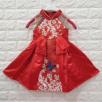 DRESS ANAK MERAH MOTIF KUPU KUPU