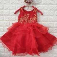 DRESS ANAK MERAH BUNGA PAYET