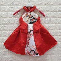 DRESS ANAK MERAH MOTIF BURUNG