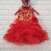 DRESS ANAK MERAH BUNGA BORDIR