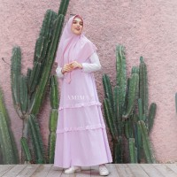 AMIMA SALAMAH DRESS BLUSH GAMIS ONLY BAHAN KATUN WELLINA ADEM