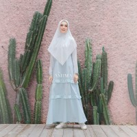 AMIMA SALAMAH DRESS AQUA GAMIS ONLY BAHAN KATUN WELLINA ADEM