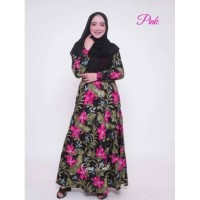 Dress Panjang Gamis Smoke Kerut Dada Bunga