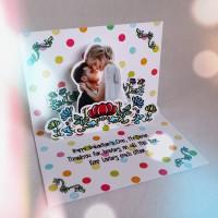 Kado Valentine DWS Doodle Flower Couple Pop Up Card Hadiah Romantis