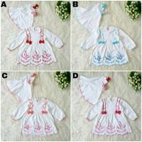 Baju Gamis Putih Anak Bayi Newborn Muslim Perempuan Aqiqah Jilbab