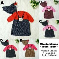 Baju Gamis Anak Bayi Perempuan Minnie Mouse Tsum Tsum Set Jilbab Lucu