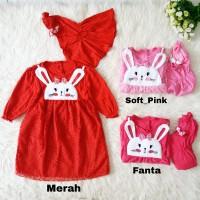 Baju Gamis Anak Bayi Muslim Perempuan Rabbit Jilbab Brokat Brukat Lucu