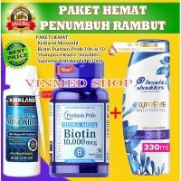 PAKET HEMAT Minoxidil 5%+Biotin 10.000mcg +Shampoo Head n Shoulders