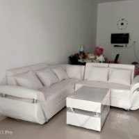 Sofa L Sudut Glamor Light  Gold Green Mewah & Modern