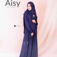 Aisy Dress Mom NAVY XL Gamis Only BAHAN JERSY ADEM JATUH DAILYWEAR