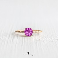 Cincin Berlian Dan Pink Ruby - Ivana Jewellery