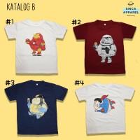 Baju Kaos Anak Cowok Laki - Laki Lengan Pendek Premium - Katalog B