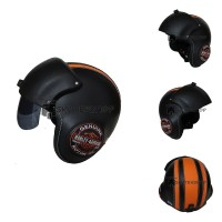 Helm Pilot Berkaca BRO.Co Motif Harley Davidson Logo Black Orange