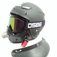 HELM RETRO JPN MOMO BLACK DOF WITH GOGGLE MASKER FREE PATH