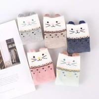 kaos kaki pendek wanita Korea motif kucing lucu