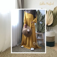 Adelia Dress MUSTARD Florid Gamis Homey Dress Rayon Viscose Polos