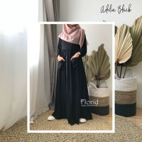 Adelia Dress BLACK HITAM Florid Gamis Homey Dress Rayon Viscose Polos